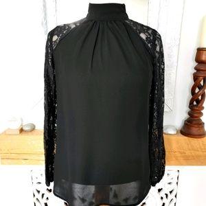 Dressy, Black Lace Detail Blouse Size M